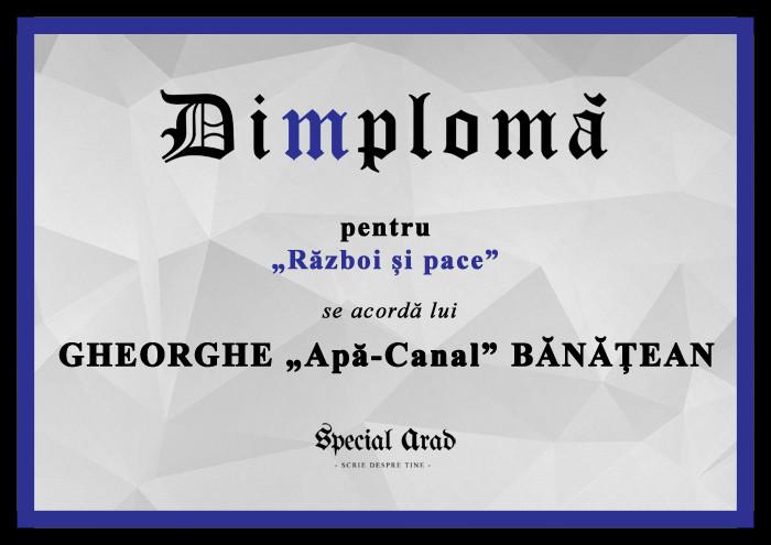 DIMPLOMA razboi si pace Gheorghe Apă-Canal Bănățean