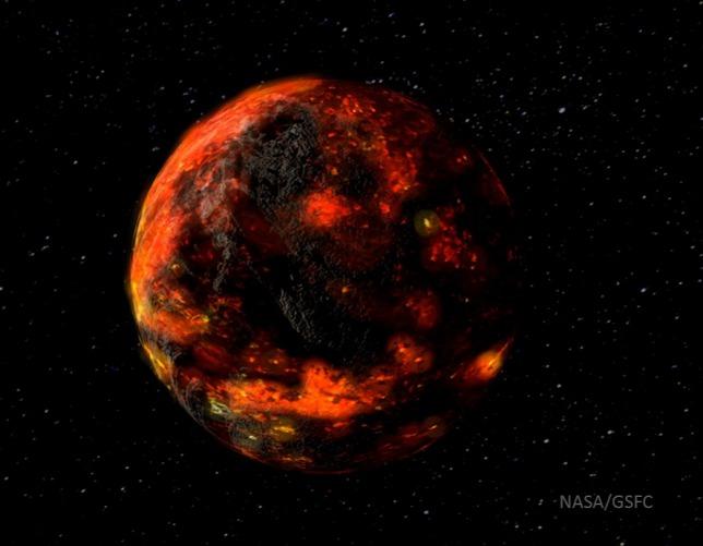 """Pământul """"în tinerețe"""" - simulare. Sursa: NASA/ GSFC"""