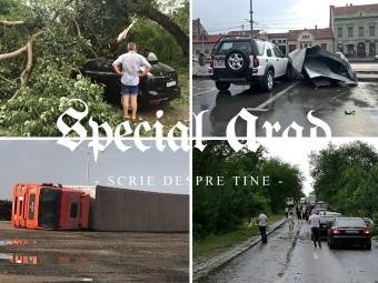 Haos total în Arad, în urma furtunii: camioane răsturnate, copaci și stâlpi căzuți, acoperișuri luate de vânt