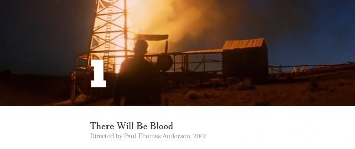 """Filmul """"There Will Be Blood"""" este pe primul loc"""