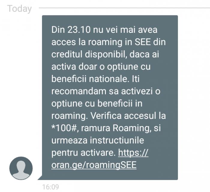 Mesajul pe care l-au primit astăzi utilizatorii Orange PrePay. Sursă: /u/Hal_Nein_Thousand via reddit