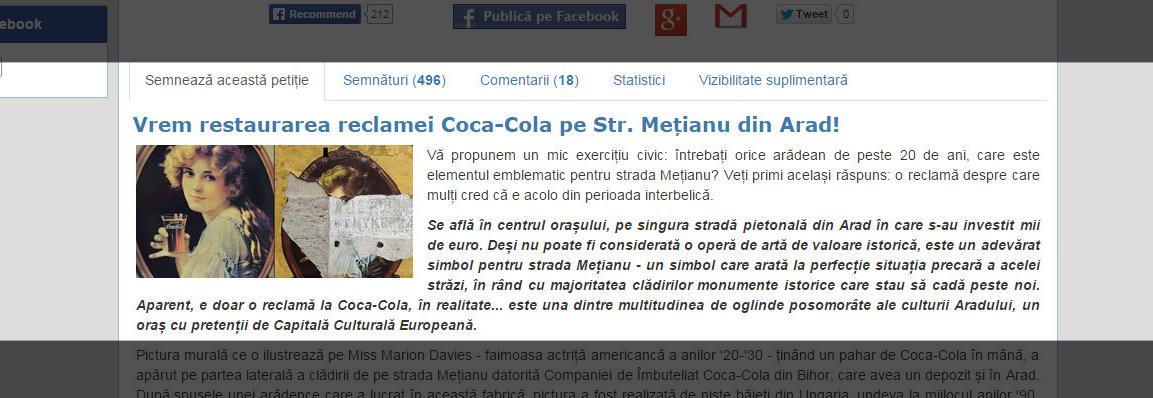 petitie arad culture str metianu coca cola