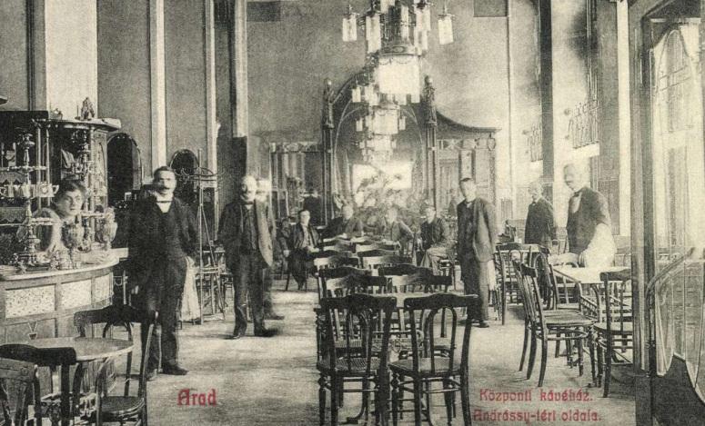 Cafeneaua Central din Arad în 1908