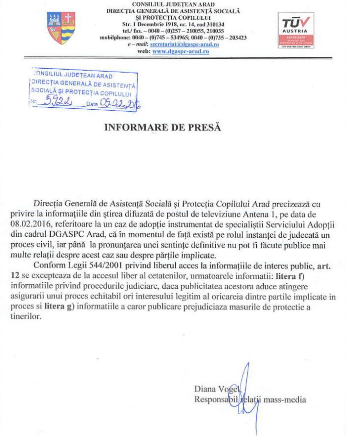 DGASPC Arad informare caz antena
