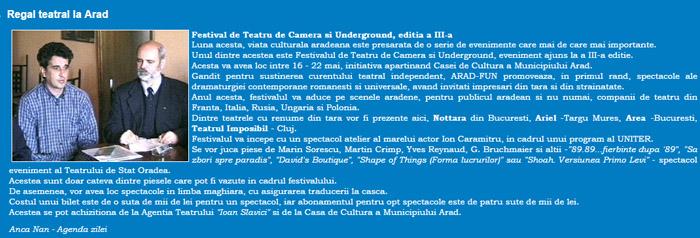 festivalul de teatru de camera si underground editia a 3a
