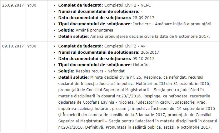 Decizie Inalta Curte Cotofana Lavinia