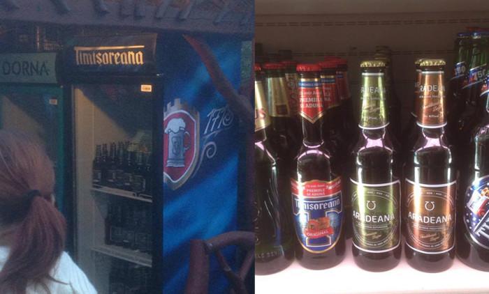 """Imagine """"de milioane"""": sticle de Arădeana într-un frigider Timișoreana..."""