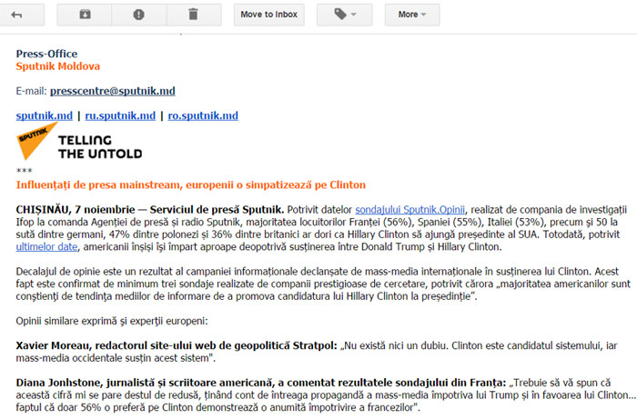 Comunicatele Sputnik au fost trimise inclusiv pe adresa de mail a redacției Special Arad
