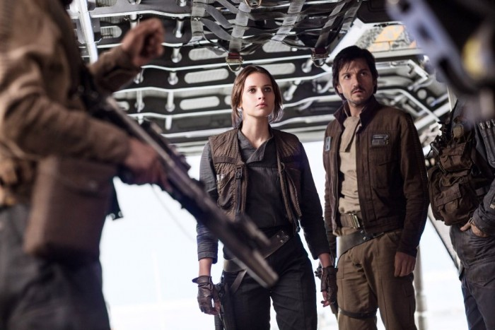 ROGUE ONE: A STAR WARS STORY, from left: Felicity Jones, Diego Luna, 2016. Ph: Jonathan Olley /©