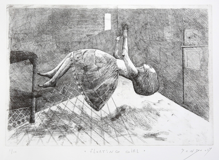 18. Floating girl etching dry point 34 x 50 cm 2017