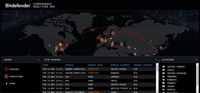 bitdefender harta atacuri cibernetice
