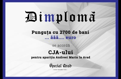 DIMPLOMA CJA-ULUI pentru apariția Andreei Marin la Arad