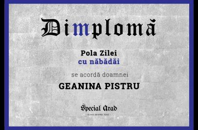 DIMPLOMA Pola Zilei cu năbădăi GEANI