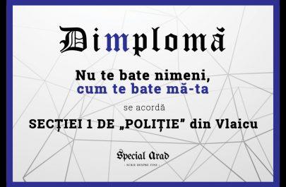 DIMPLOMA SECȚIEI 1 DE POLIȚIE din Vlaicu