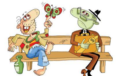 happy-rich-two-men-sit-next-bench-70490135