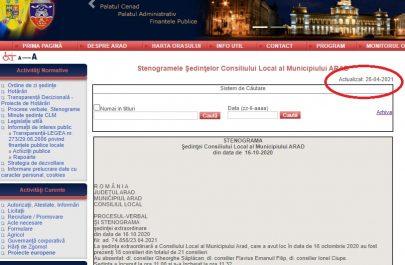 stenograma urcata pe site-ul primariei in 28 aprilie