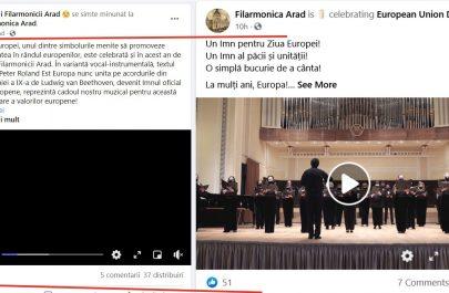 postare Artistii Filarmonicii vs postare Filarmonica Arad